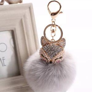 {EMMALIE} fox bling fur charm keychain